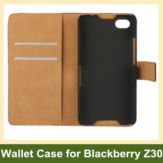 Genuine Leather Wallet Flip Cover Case for Blackberry Z30 with Card Slot Holder 100pcs/lot Free Shipping
