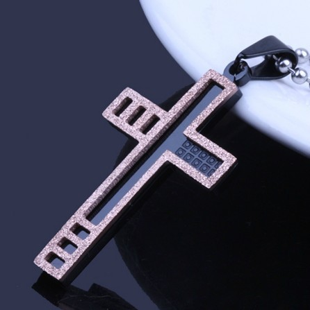 High-grade Titanium Steel Cross Pendant Necklace Dull Polish Rose Gold Crucifix Necklaces Costume Jewelry For Men & Women(China (Mainland))