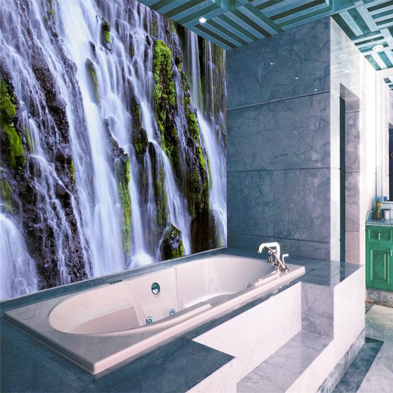 3d wallpaper home decor photo background waterfall for Bathroom mural wallpaper