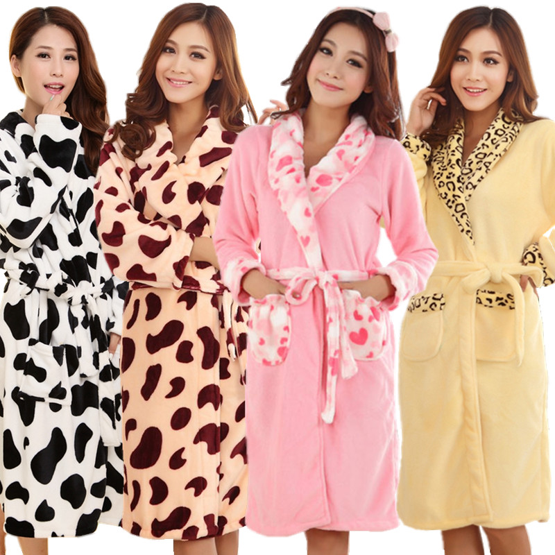 Autumn winter flannel women's robe medium-long lounge large lapel thickening coral fleece bathrobes long-sleeve sleepwear - Qinghuaci8888 store
