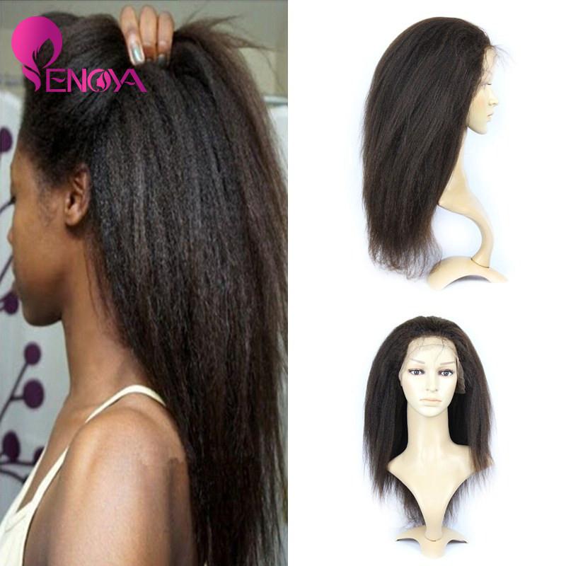 Enoya Hair In Stock Top Quality100% Density Brazilian Virgin Hair Italian Yaki Silk Top Glueless Full Lace Wig(China (Mainland))