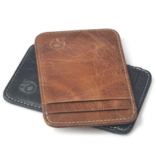 Buy HOT Wholesale oil wax Leather Bank Credit Card Case Mini Card Wallet Men business Card Holder Cash Cards Pack Business ID Pocket for $6.52 in AliExpress store