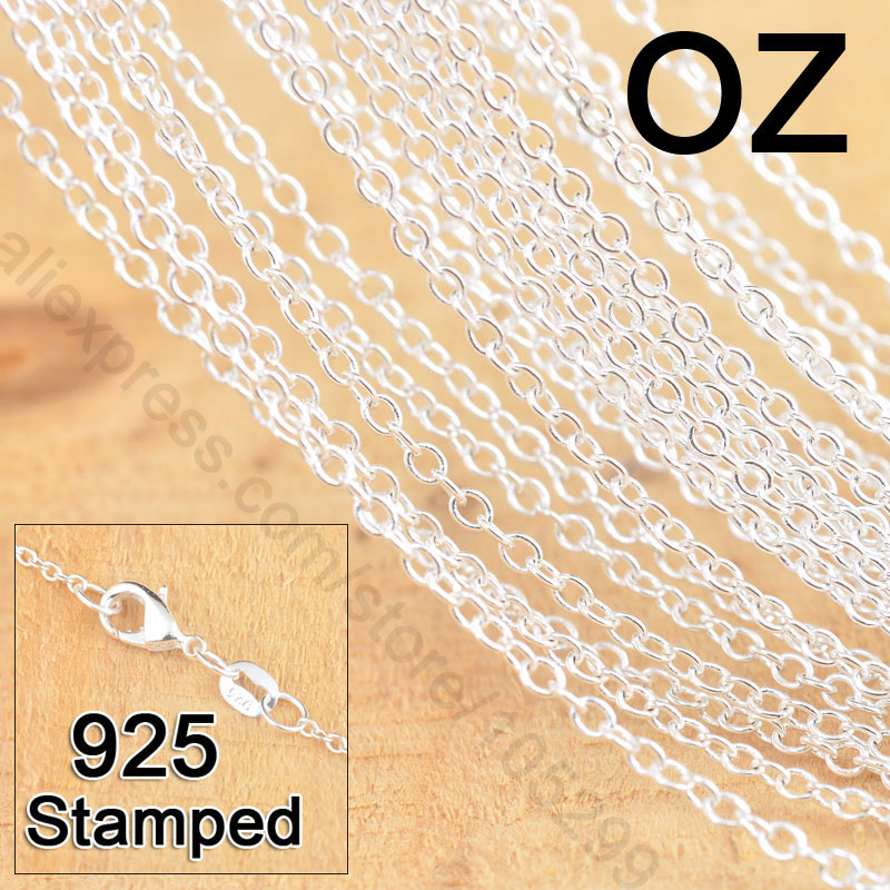 "Stock Fast Free Shipping 50Pcs 18"" 925 Sterling Silver Jewelry Link Rolo Chains Necklace With Lobster Clasps Factory Price(China (Mainland))"