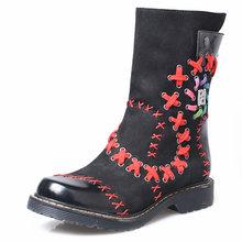 Kadın Kış yarım çizmeler Vintage Tasarım Daireler Martin Boot Ayakkabı Kadın Karışık Renkli Örgü Sonbahar Botines Mujer Bayan Bot Ayakkabı(China)
