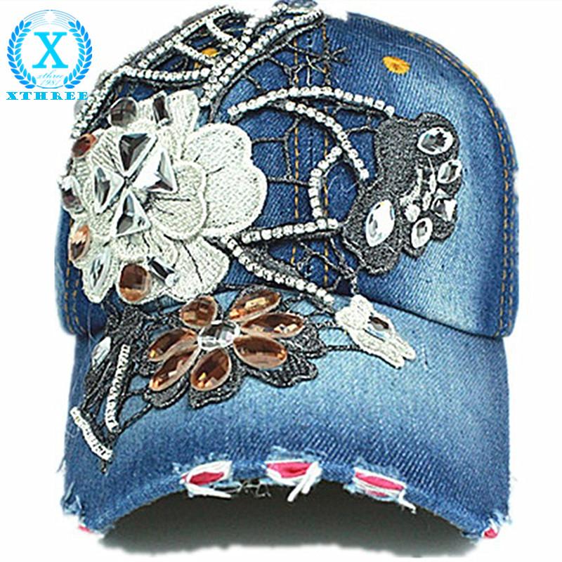 high quality Casual Fashion hat Baseball cap Rhinestones hat Jean Snapback Baseball Hat Cap For Women(China (Mainland))