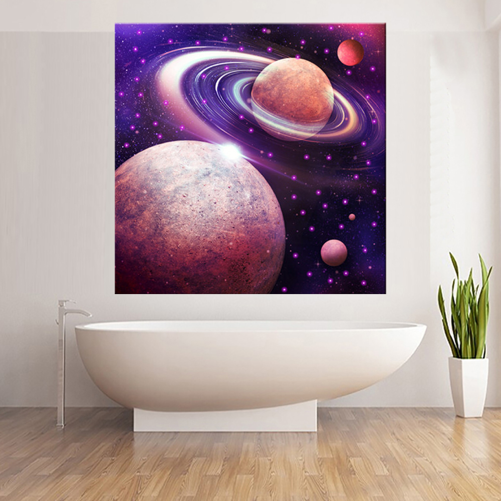 LED Canvas Painting Landscape Universe Space Planet LED Flashing Optical Fiber Picture Gift for Living Room Wall(China (Mainland))