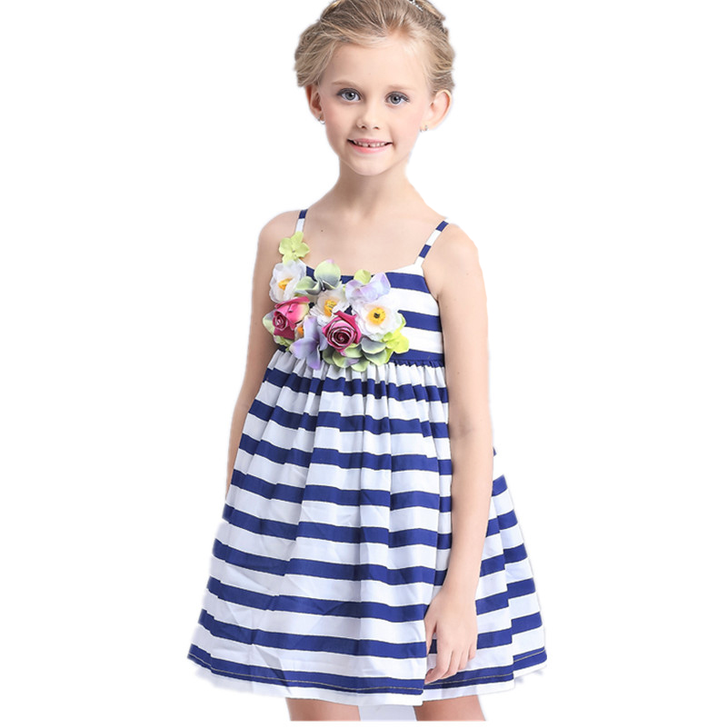 2016 New Arrival European style summer children clothing girls Floral dress princess dress striped cotton clothes Sling dresses(China (Mainland))