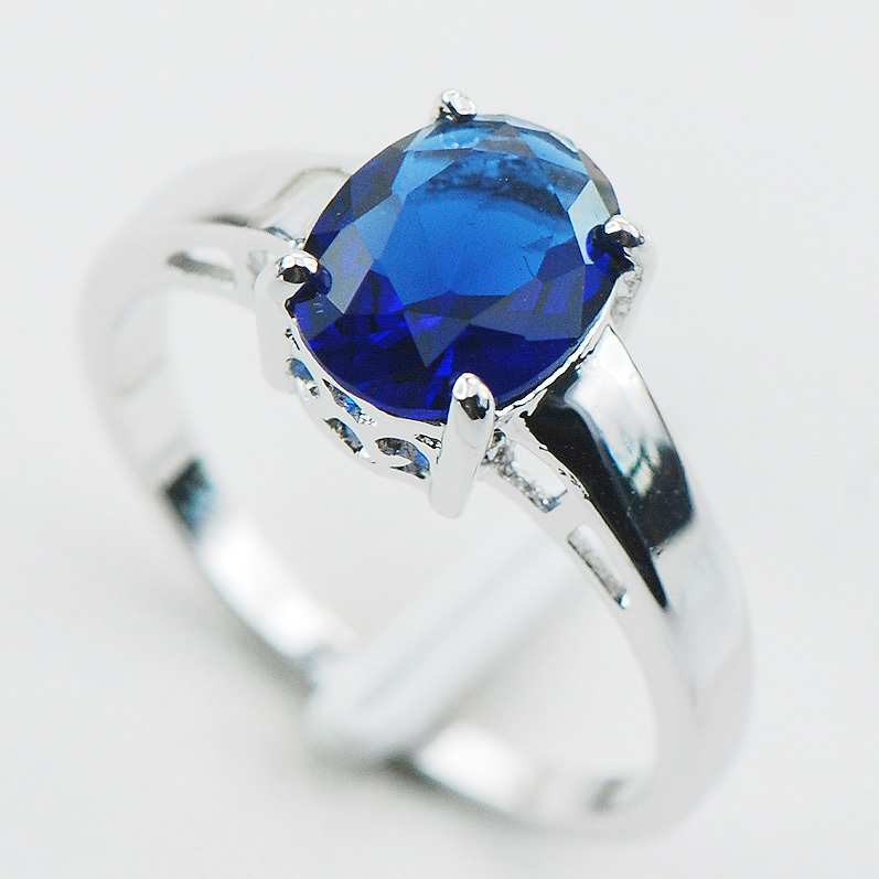 blue sapphire 925 sterling silver ring size 5 6 7 8 9 10