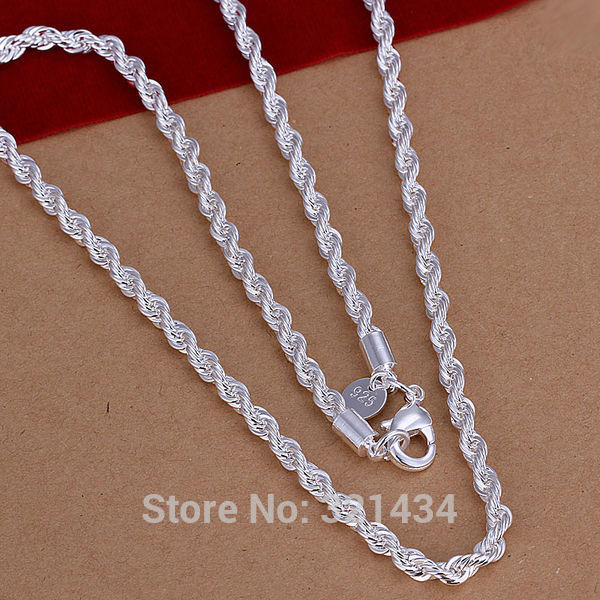 Wholesale fashion high quality brand new womens mens male female 925 free shipping fashion high quality new 925 sterling silver 20 inches necklace necklaces pendant chain link 4mm pendants kx67 mozeypictures Image collections