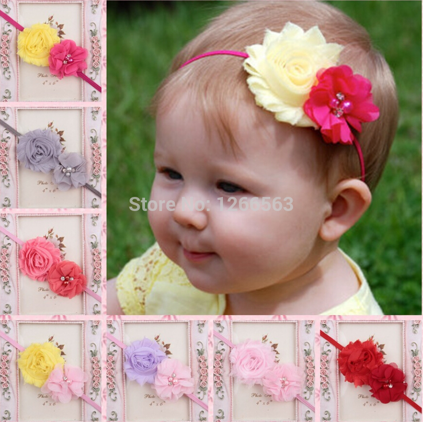 Newest Girl's Head Accessories hairband Baby Headband Two flower princess headbands elastic flower hairband 10pcs hello kitty(China (Mainland))