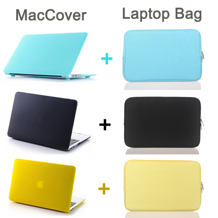 Set Items Rubberized Frosted Matte Case For Macbook New air 13 retina 13 pro 13 Sleeve bag and Color Sleeve bag Carrying Case(China (Mainland))