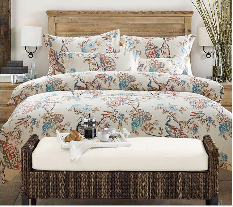 Luxury peacock bird print design bedding set egyptian for Luxury cotton comforter sets