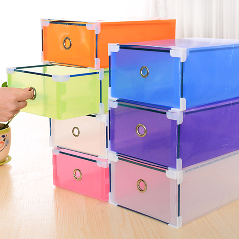 DIY assembly thick metal edging transparent makeup drawers large capacity color clear shoe box 31 * 20 * 11cm(China (Mainland))