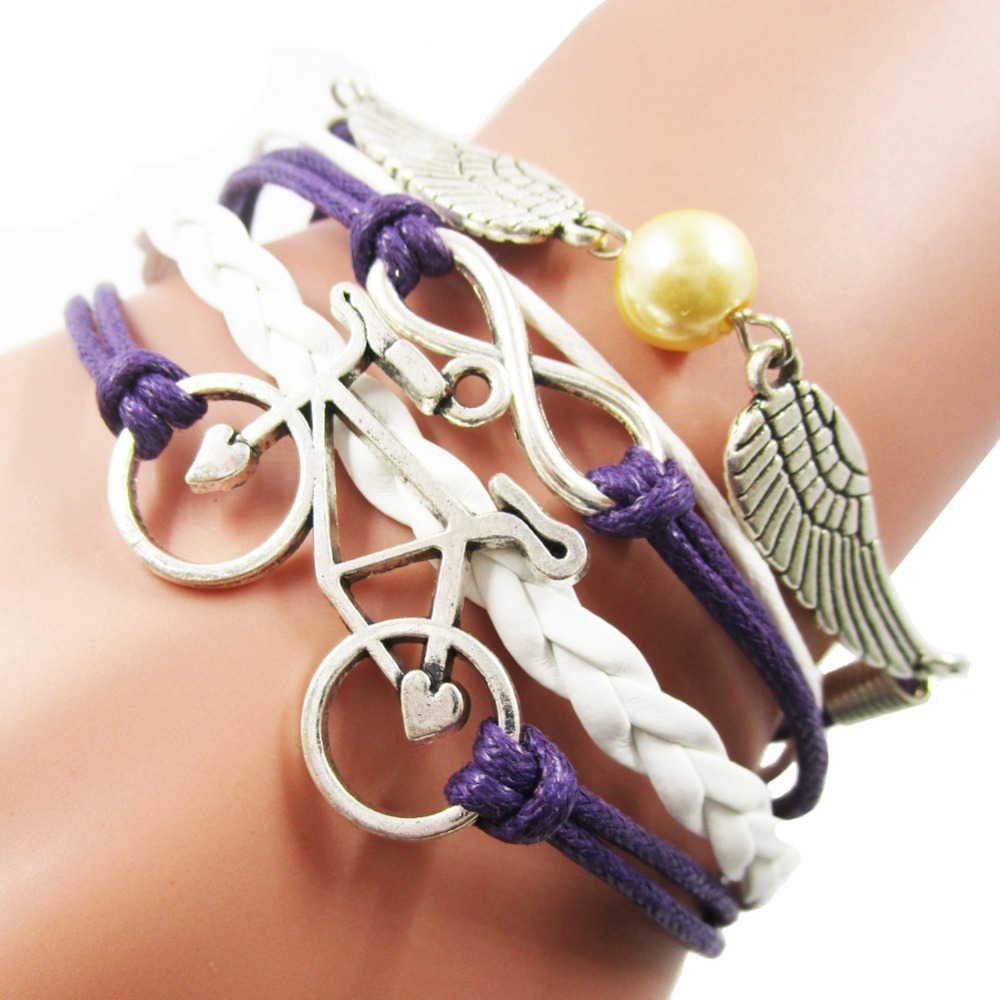 Lucky Vintage Bicycle Angel Wing Infinity Charm Leather Rope Bracelets for Girls, Fashion White Purple Leather Bracelet Jewelry(China (Mainland))