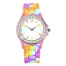 Lackingone # colorido multicolor de la jalea del silicón joven de la escuela cristal relojes de pulsera de cuarzo de moda espumosos relojes