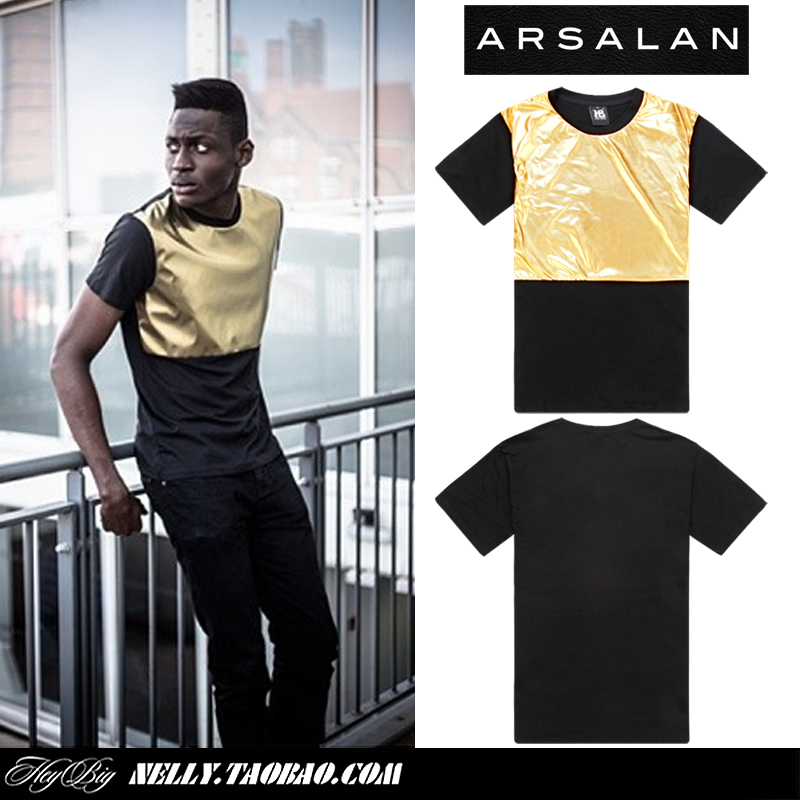 Arsalan 2014 new arrival gold quality shiny man fashion t-shirt loose mens hiphop t shirts pu patchwork men leather t shirt(China (Mainland))
