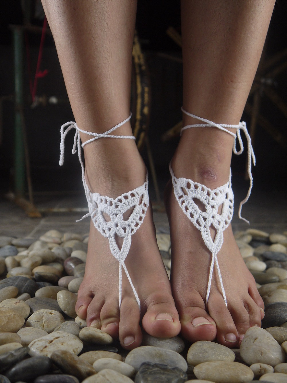 Wedding white Hand crochet sexy barefoot lace sandals Anklet made pure cotton yarn,Hippie Beach, Bellydancing,Bohemian X944 - Custom Handmade Crochet and Retail store