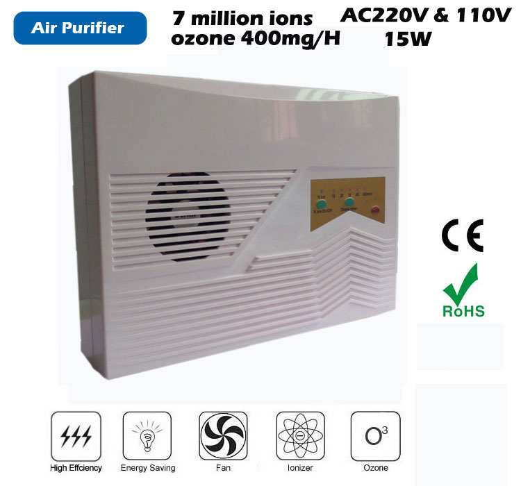 multi-function Ionizer Air Purifier,Ozone output 400mg/H,anion generator density 7 million pcs, support remote remote control(China (Mainland))
