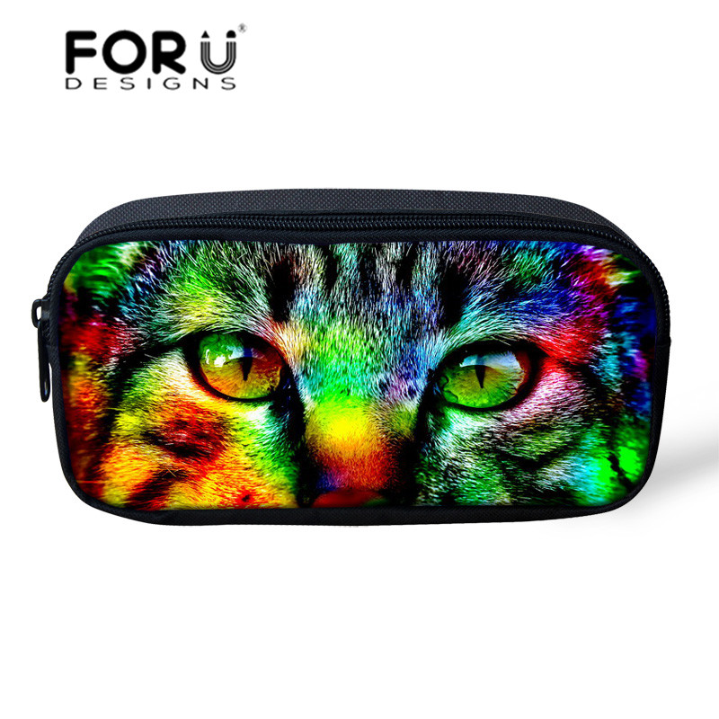 Fashion Women Solid Pencil Case Make-up Bags Black Owl Cat Cosmetic Bag Children School Supplies Pen Pouch Box Kids Stationery(China (Mainland))