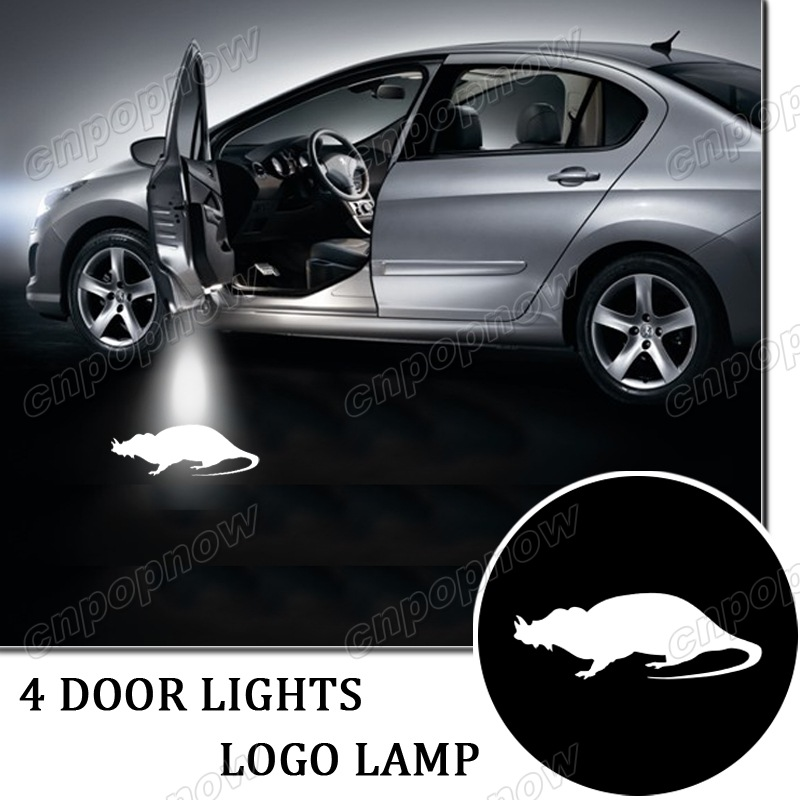 4pcs Car welcome courtesy door lights LED ghost shadow projector logo mark Lighting lamp for white rat #6083*4(China (Mainland))