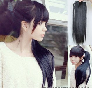 America Europe pop fashion girl Hair Piece straight Ponytail Pony Tail LADY hair Clip Extension - families paradise store