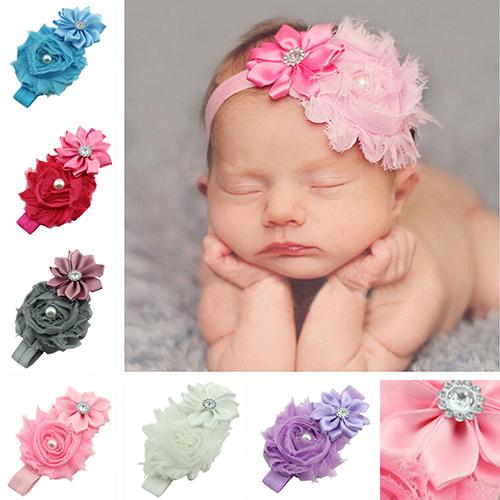 Bluelans Baby Faux Pearl Rhinestones Stretchy Cloth Ribbon Flower Headband Hair Band(China (Mainland))