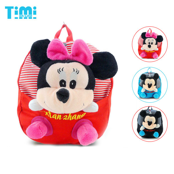 Super! Mickey Mouse backpack with Mickey plush toys,removable,good gift for children,Free shipping(China (Mainland))