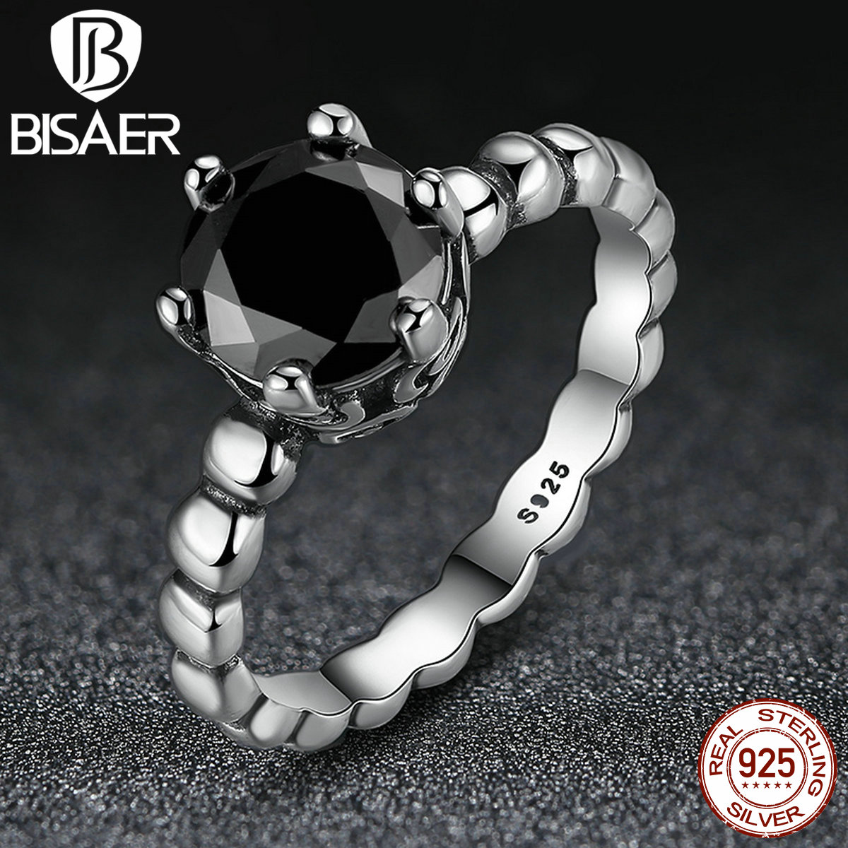 BISAER Genuine 100% 925 Sterling Silver Ring with Black Cubic Zirconia For Women Wedding Compatible with Pandora Jewelry(China (Mainland))