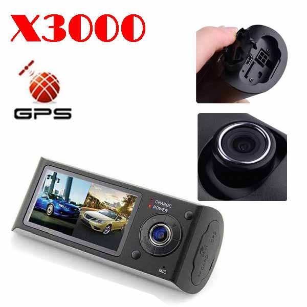 """BY DHL OR EMS 50 PIECES car dvr gps with Dual Lens front and back car black box with GPS G-Sensor 2.7""""LCD X3000(China (Mainland))"""