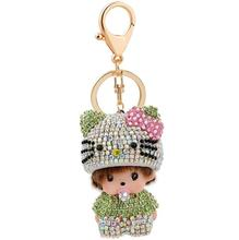 Hot sale Monchichi key chain pendant Rhinestone bag accessories car key chain Christmas gift(China (Mainland))