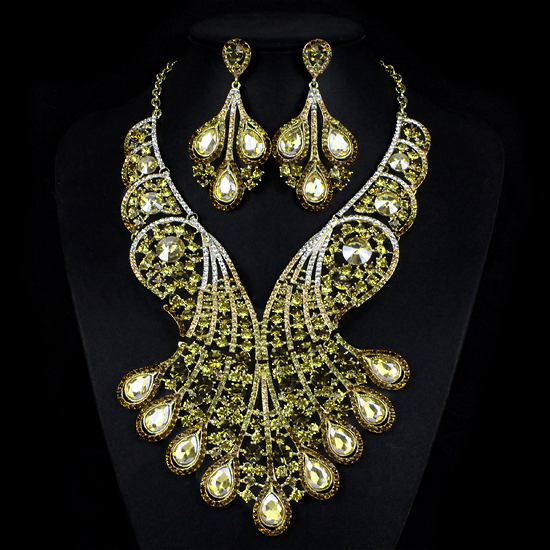 2015 Fashion Rhinestone Jewelry Sets Necklace earrings set Elegant Shinning Jewelry Set for Brides Bride Party Prom Accessories<br><br>Aliexpress