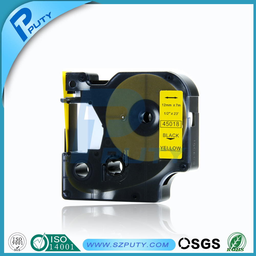 Comapatible dymo label tape black on yellow dymo 45018 for dymo label printer typewriter ribbon label