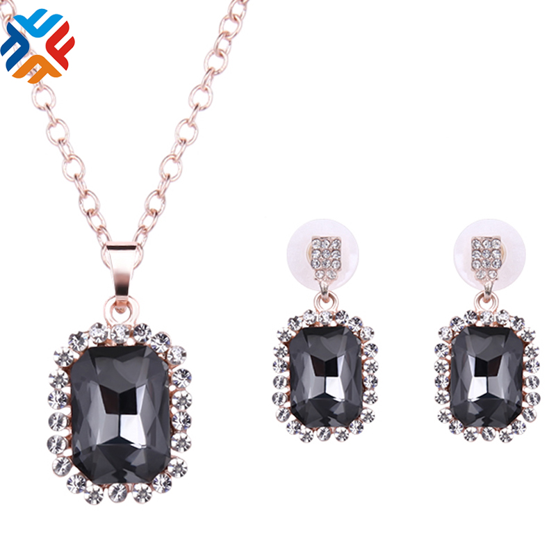 Rose Gold Plated Rectangle Austrian Crystal Chain Pendant Necklace + Earrings Jewelry Sets 2016 New Arrival Free shipping(China (Mainland))
