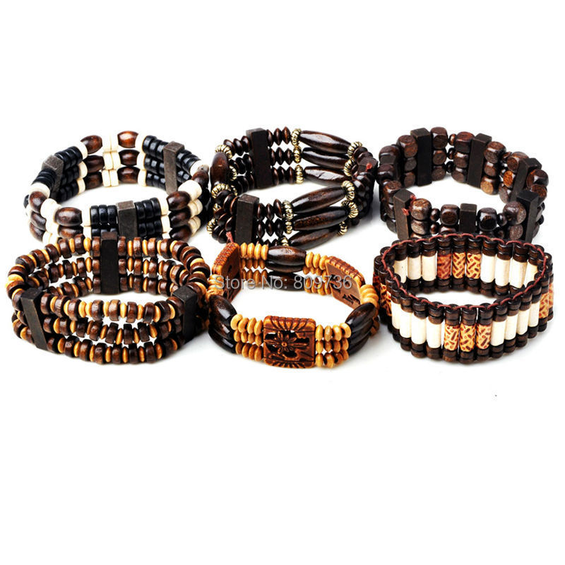 10pcs Wood Beads Charm Bracelet Elastic Women Bracelet Jewelry Adjustable Bangle Cuff Men Wholesale Mix Lot