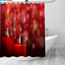150x180CM Nordic Foto 'S Polyester Waterdicht Kerst Kaarsen Douche Gordijnen Hoge Kwaliteit Bad Gordijn In De Badkamer(China)
