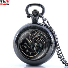 Game of Thrones Necklace Quartz Pocket Watch Vintage A Song of Ice and Fire Retro Pendant Gift