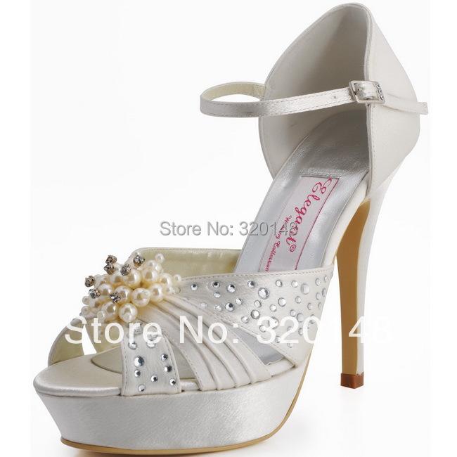 Фотография Woman Shoes 2016 Summer high heels EP11057-PF White Peep Toe Pearls Beading Crystal Platform Satin Wedding Bridal PumpsShoes