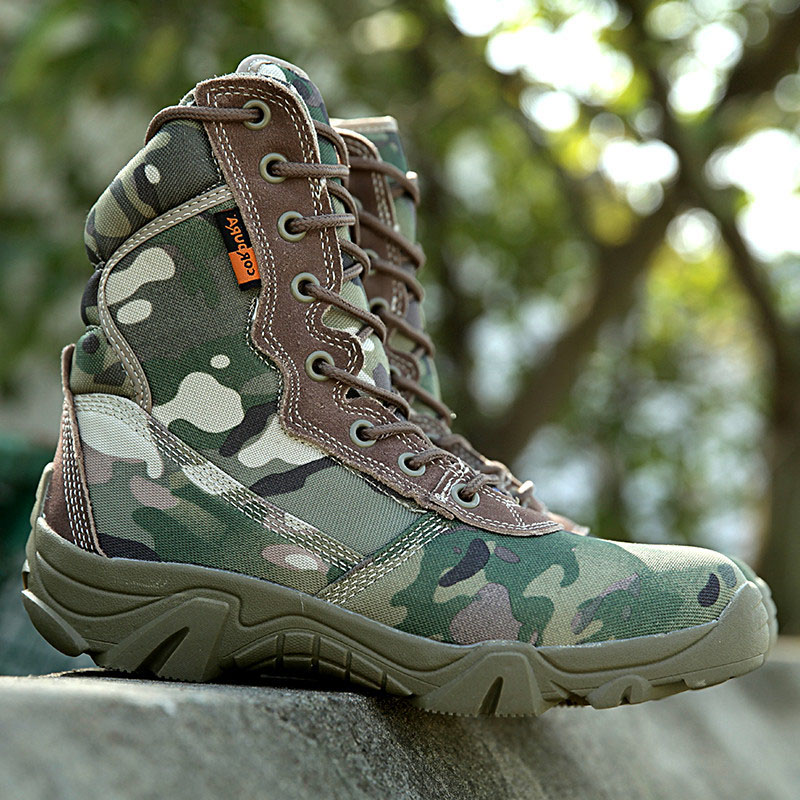 Military Men's Outdoor Jungle Camouflage Army Combat Tactical Hiking High Boots Men Breathable Canvas Botas Hombre Sapatos - Tianing Store store