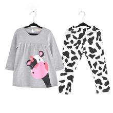 Winter Hot Sale Baby Girl Clothes Casual Long-sleeved T-shirt+pants Suit  The Cow Suit Of The Girls(China (Mainland))