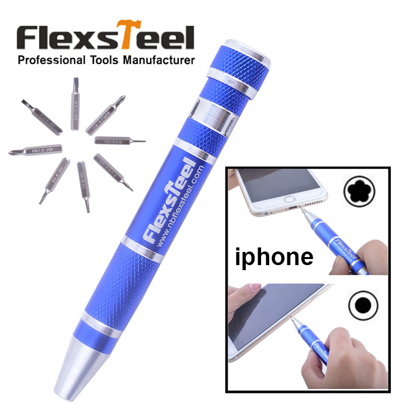 Special for iphone! 8 in 1 Pocket Pentalobe Slotted Philips Torx Precision Bit Screwdriver Pen Kit for Mobilephone Laptop Repair(China (Mainland))