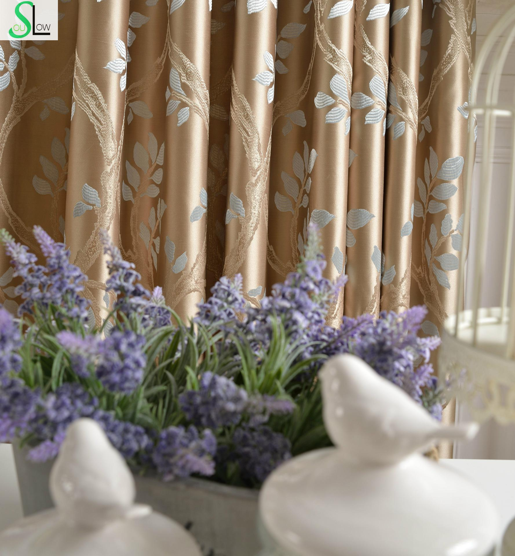 Cotton lace curtains - Peach High Precision Jacquard Curtains French Window Leaves Pastoral For Living Room Blackout Bedroom Cortinas Cocina Kitchen