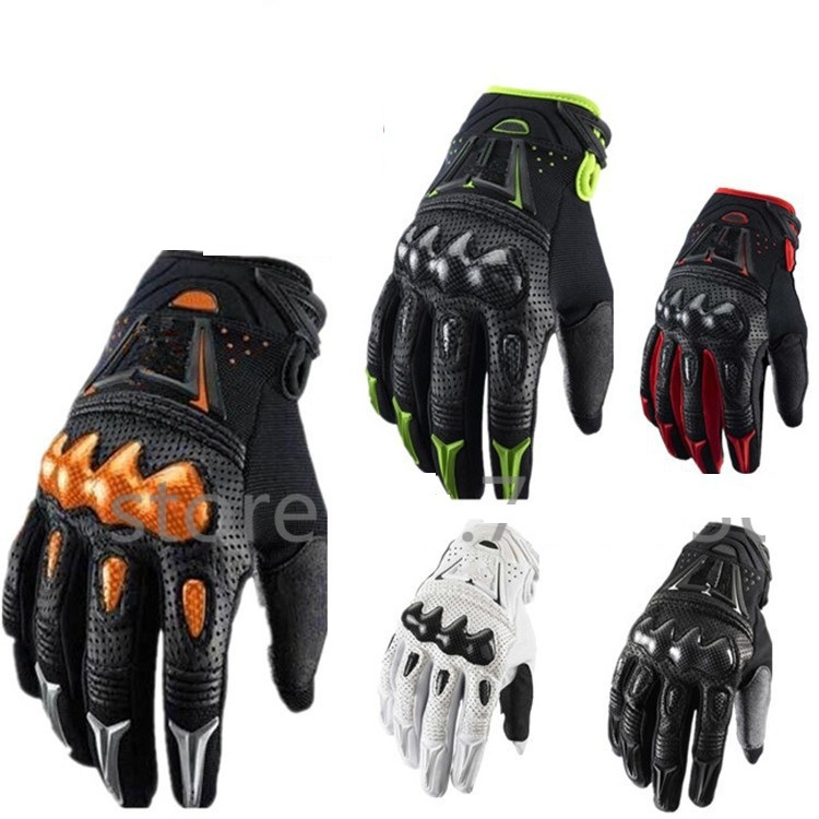 2015 Free shipping Bomber Motorcycle Glove Top Leather Black Green Red Size M L XL Motorbike Bicycle Cycling Gloves(China (Mainland))