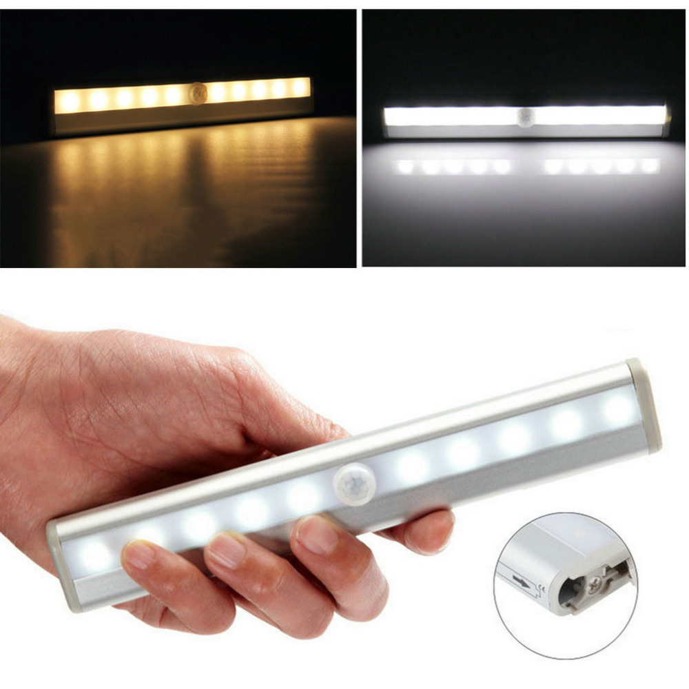 10 LED Bright PIR Motion Sensor Light Cabinet Wardrobe Drawer Lamp Bulb <br><br>Aliexpress