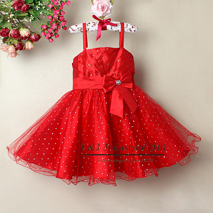 Wholesale Fashion Girl Dress Red Party Dresses With Bow Princess Dress Infant Apparel Kids Clothing(Hong Kong)
