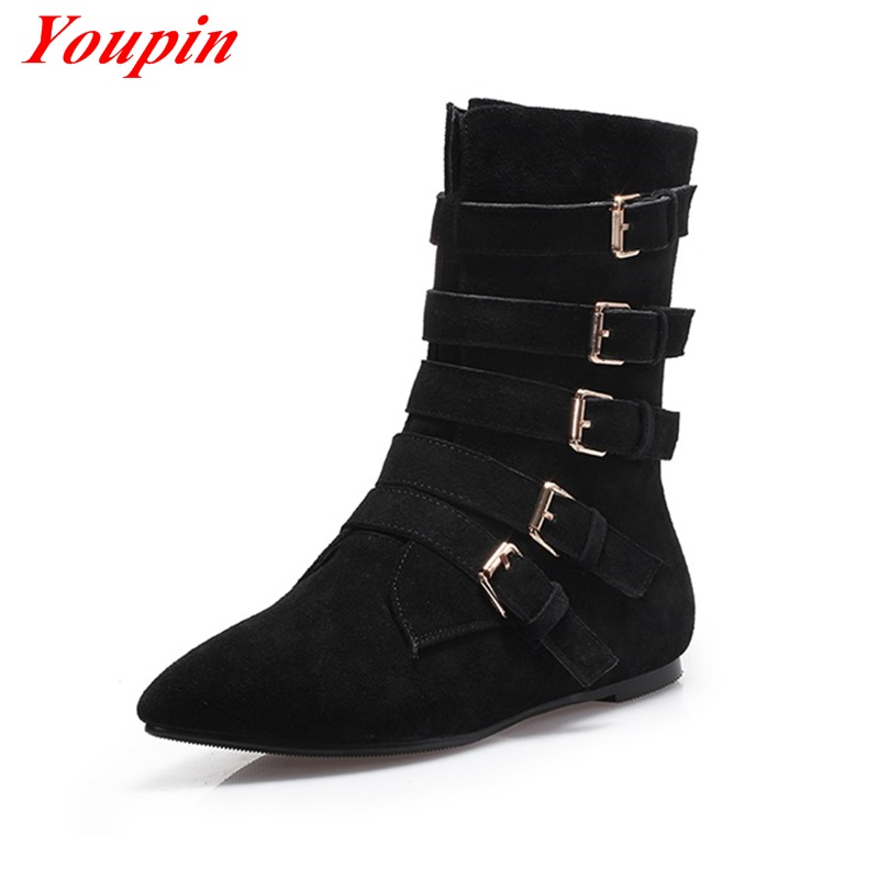 Scrub casual shoes Pointed Flat with Autumn/winter Brown Black belt buckle Cow suede fashion simple Temperament Women boots <br><br>Aliexpress