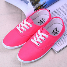 Fashion tide style summer candy colors women flat shoes lace up round breathable women casual shoes All-Match students flats