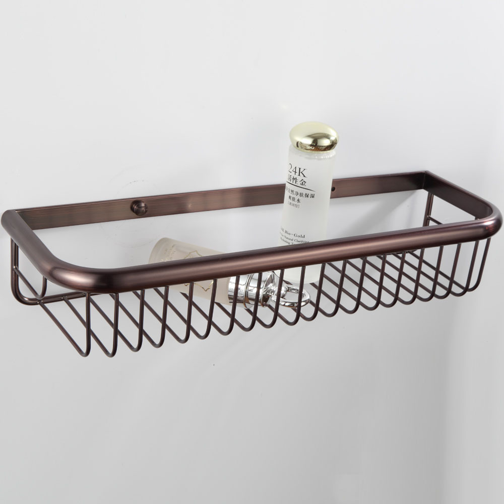 Wall mounted oil rubbed bronze finish bathroom accessories for Basket bathroom accessories