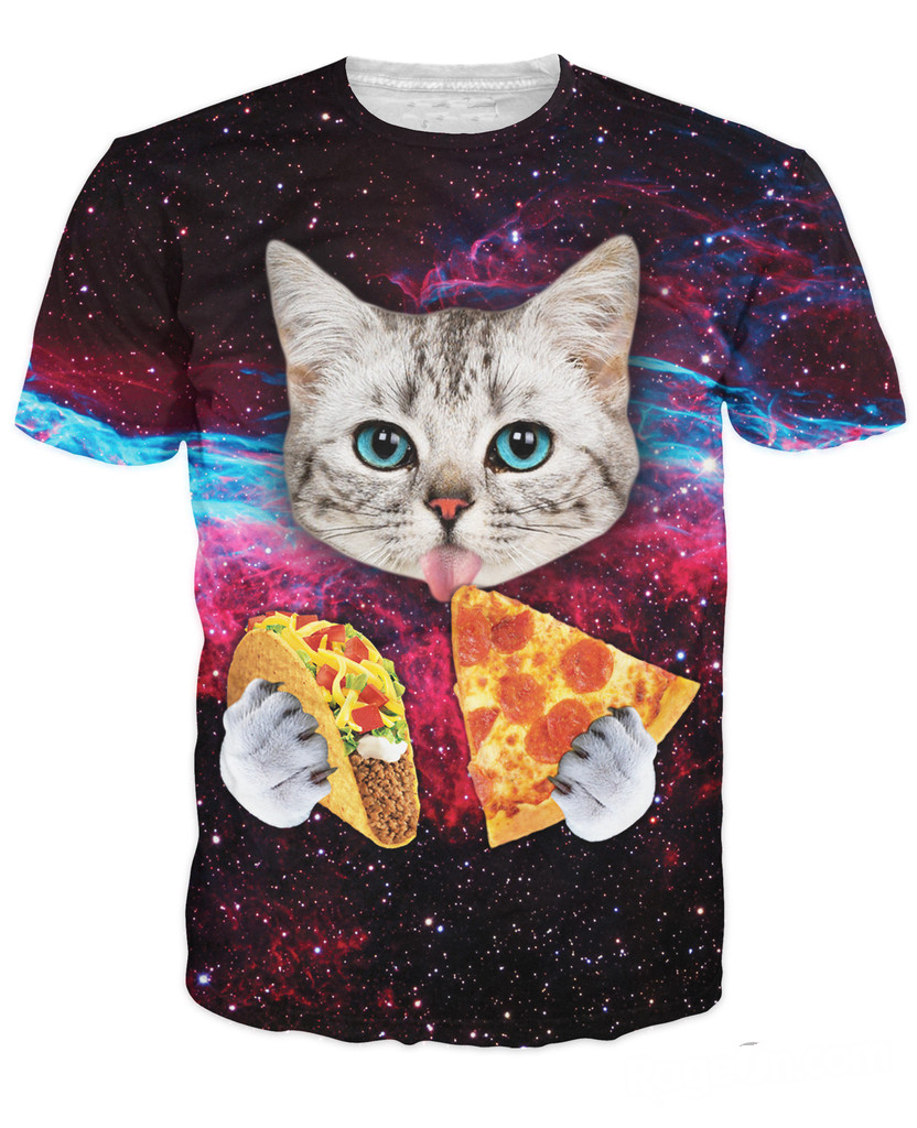 women men summer style tee Cat T-Shirt cute cat with blue eyes eating tacos pizza in space galaxy t shirt tshirt(China (Mainland))