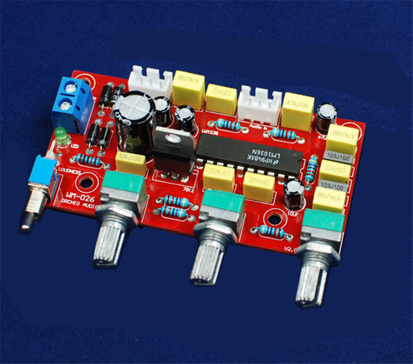 "DIY electronice suite Before ""HIFI LM1036 plate tones Power amplifier front plate parts kit diy kit(China (Mainland))"