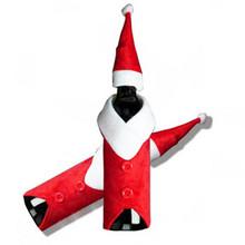versandkostenfrei weinflasche abdeckung, weinflasche beutel, santa clause flasche tuch mit hut weihnachtsgeschenk(China (Mainland))